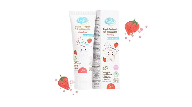 ยาสีฟันเด็ก Kindee Organic Toothpaste Strawberry