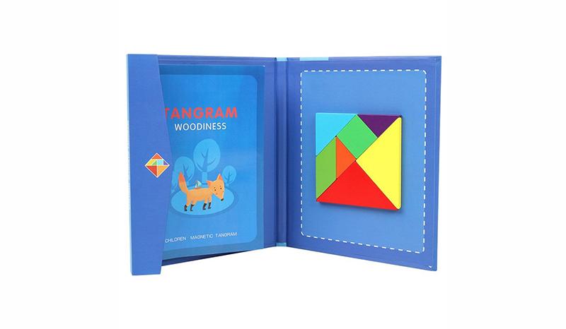 จิ๊กซอว์ Puzzle tangram แม่เหล็กกระดานแม่เหล็กไม้ประกอบ ของเล่นเด็กแบบพกพา