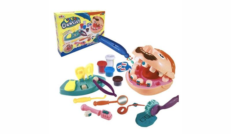 ชุดแป้งโด ชุดหมอฟัน + มีที่ใส่ฟัน แป้งโด แม่พิมพ์ฟัน เครื่องเจาะฟัน