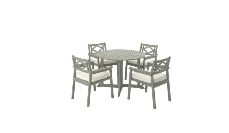 โต๊ะในสวน IKEA BONDHOLMEN (บอนด์โฮลเมน) โต๊ะ+เก้าอี้วางแขน 4 ตัว