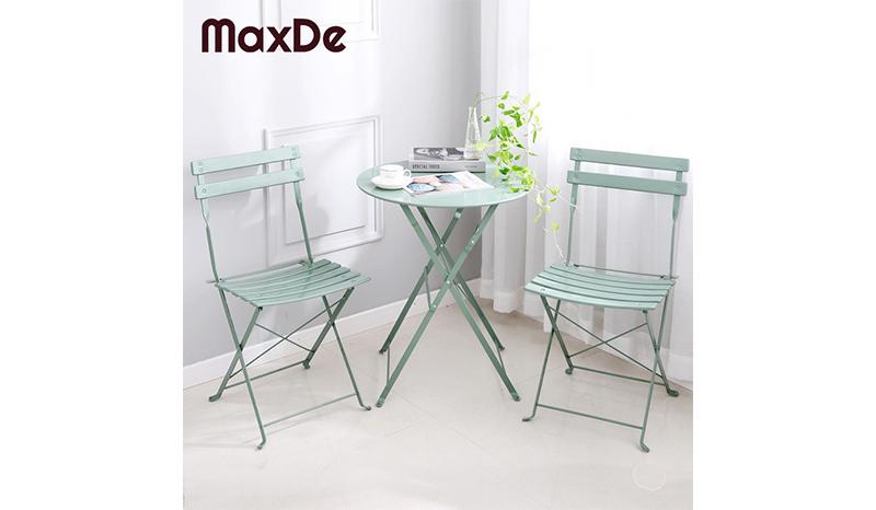 โต๊ะในสวน MaxDe ชุดโต๊ะสนาม พร้อมเก้าอี้พับ 2 ตัว