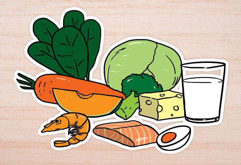 กลุ่มผัก เครื่องในสัตว์ อาหารทะเล ไข่ และผลิตภัณฑ์จากนม