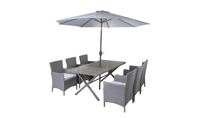 โต๊ะในสวน SPRING FLORENCE ชุดโต๊ะกลางแจ้งพร้อมร่มกันแดด