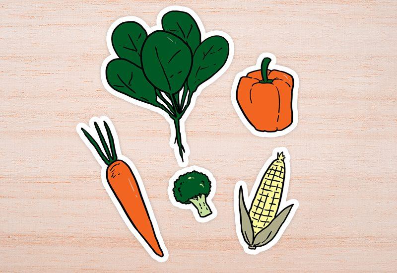 กลุ่มผักใบเขียวเข้ม สีเหลือง และสีส้ม