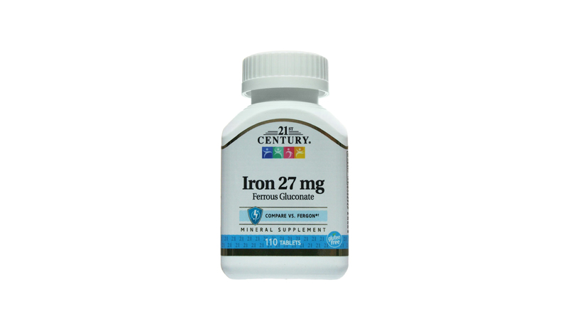 อาหารเสริมธาตุเหล็ก 21st Century Iron 27 mg Ferrous Gluconate