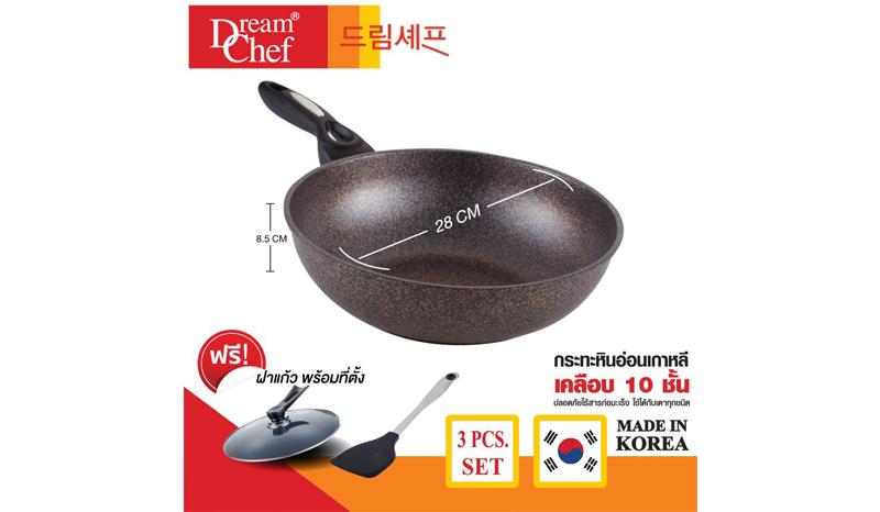 กระทะเคลือบหินอ่อน Dream Chef Marble Pan