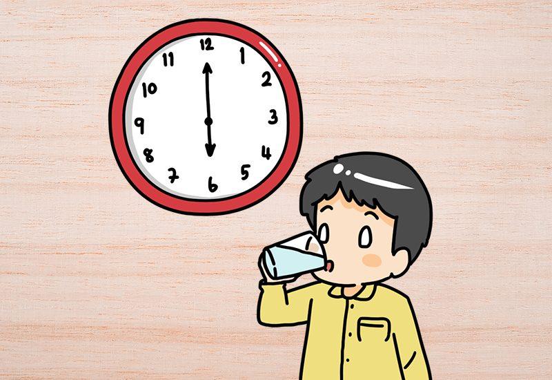 ดื่มน้ำ 1 แก้ว หลังตื่นนอน : ช่วงเวลา 06:00 – 07:00 น.