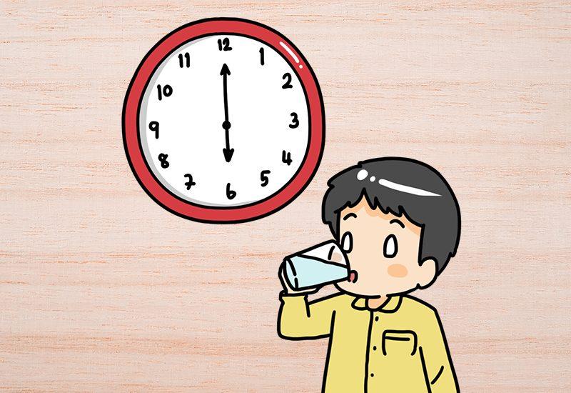 ดื่มน้ำ 2-3 แก้ว ช่วงเย็นและช่วงก่อนนอน ช่วงเวลา 18:00 – 22:00 น.